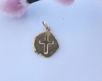 Cross pendant 24 carat 999/000 gold real gold solid embossed handmade unique children baptism Communion