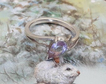 Amethyst Sterling Silver Ring/Vintage/Handmade/Free Shipping Us/February Birthstone/Christmas/ Valentine/Birthday gift