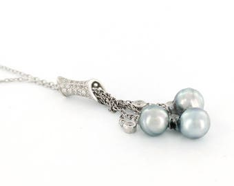 Silver cubic zirconia pendant with 3 Tahitian pearls