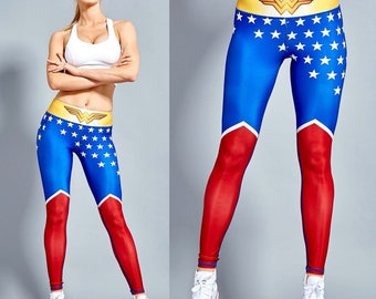 Wonder Woman Leggings (PRE-ORDER) Superhero Gym Workout Fitness Tights Activewear