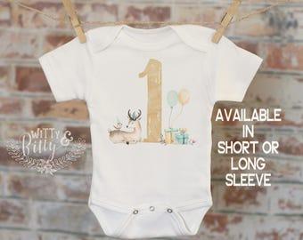 One Birthday Deer Onesie®/T-Shirt, Funny Onesie, Cute Onesie, First Birthday Onesie, Tribal Style Onesie, Woodland Animals, Boho Baby - 331