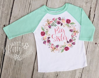 Big Sister Pink Mint Wreath Kids Raglan Shirt, Funny Kids Shirt, Cute Kids Raglan Shirt, Girls Boho Shirt, Girls Raglan Tee - R422B
