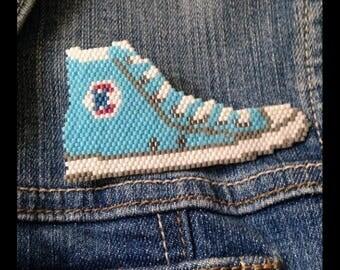 "Brooch ""Converse"" woven with Japanese Miyuki beads"
