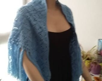 all crocheted bonnet and shawl crocheted in blue wool