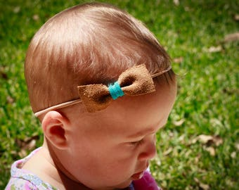 Suede Leather Bow with Turquoise Tie - Baby Gift - Baby girl - Baby Shower -Baby Bow - Baby Headband