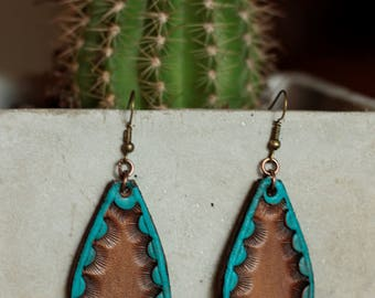 Natalie Turquoise Earrings | Leather Earrings | Birthday Gift | Anniversary | Gifts under 25 | Handmade | Gifts for Her