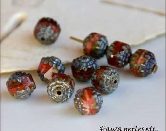 """10 Czech beads Picasso """"Cathedral"""" red-brown-green mix fire polished 8 mm"""