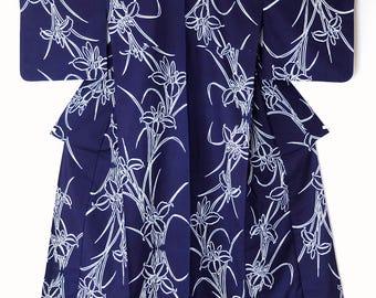 Authentic Japanese Vintage Indigo Yukata Kimono Iris M124