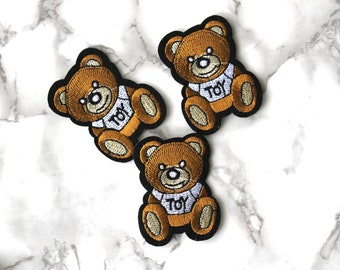 ONE Cool Teddy Bear Toy Iron On Patch, Kids Fabric Patch, Embroidered Patch, Free Spirit, Birthday Gifts For Son Under 10, Funny Fashion