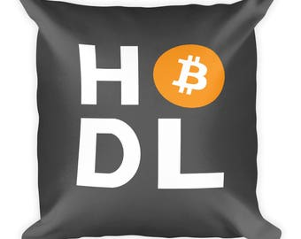 HODL Bitcoin Cryptocurrency Gift Pillow Square Crypto Trading BTC