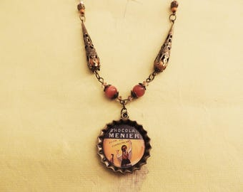 Vintage pub chocolate Menier necklace