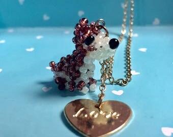 Handmade Beaded Dog Charm Necklace