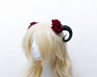 Horn and rose gothic hair clips demon horn headdress cosplay fantasy larp festival hair accessory