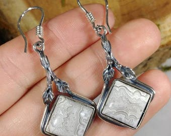 Exquisite sterling silver and crazy lace agate dangle earrings / Nature Inspired leaf detailed earrings one of a kind