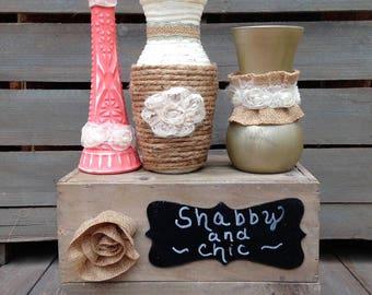 Burlap and Lace Embellished Vase Set