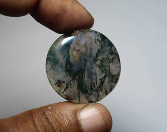 Natural Moss agate loose gemstone, Moss agate gemstone, Natural Moss agate cabochon gemstone, Moss agate loose stone [29x29]44 Cts. #525
