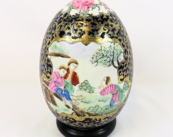 Vintage very big Porcelain Egg, with beautiful rare Chinese Decor, including standard