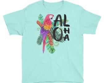 Aloha - Tropical Hawaiian Getaway Vacation Floral Macaw Parrot Kids/Youth Short Sleeve T-Shirt