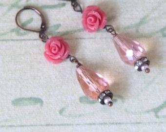Pink Shabby Chic earrings - Romantic earrings -  Rose earrings - Vintage style earrings, by VintageRoseGallery .