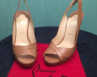 """Christian Louboutin Shoes 11 (41) """"Marpoil"""" Leather Sling Back Pumps Open Toe NEW"""
