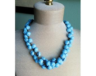 1940s Blue Celluloid Button Necklace - 40s Celluloid Bauble Necklace - Vintage Celluloid Necklace
