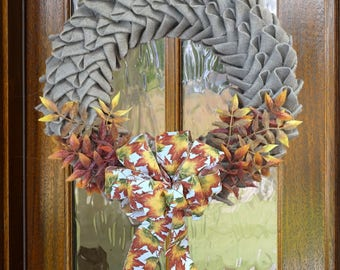 Burlap Petal Wreath//Swedish Braid Wreath//Fall Wreath//Front Door Wreath//Fall Decor//Fall Ribbon//Fall Leaves