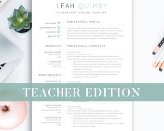 Teacher Resume Template for Word | 1-3 Page Resume for Teachers | Teaching CV | Teaching Resume | Elementary Resume Teacher Instant Download