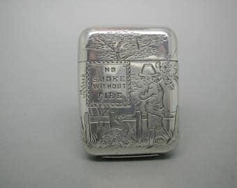 Sampson Mordan silver vesta / match safe. 'No smoke without fire'. HM 1881.