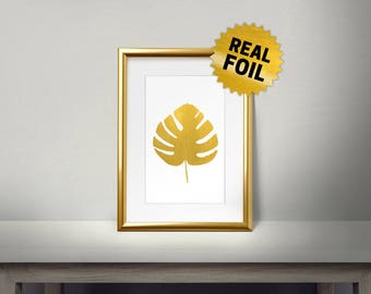 Palm Tree Leaf, Real Gold Foil Print, Gold Wall Art, Leaves Wall Framed, Golden Leaf, Shiny, Living Room Decor, Gold Leaf Print
