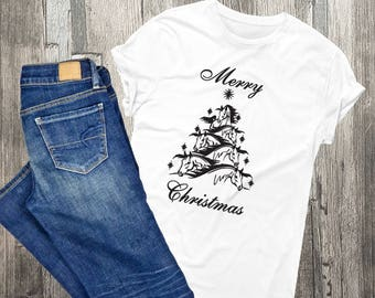 Horse themed gifts etsy horse christmas tree shirt custom shirts holiday gift for her horse quote negle Choice Image