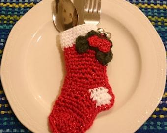 8 pc Crochet Holiday Utensil Holder