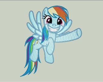 "Rainbow Dash ""Pointing"" Friendship is Magic Character File Bonus Embroidery and SVG pdf cut design file dst exp vip jef hus xxx pec pes"