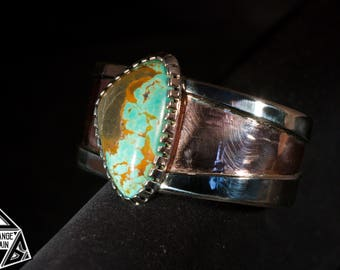 Women's • Tyrone Turquoise • Copper •  Sterling Silver • Cuff • Statement • Bracelet • Large • Turquoise • New Mexico • American Turquoise