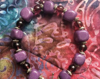 Handmade Purple Stone and Silver Bracelet