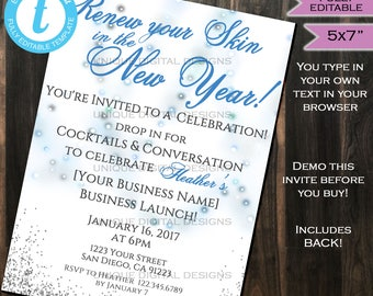 Rodan Fields Invitation Business Launch Party BBL Invite R+F Fine Renew your skin New Year's Wine Printable R and F INSTANT Self EDITABLE