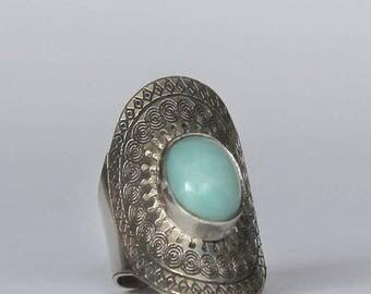 Amazonite ring.