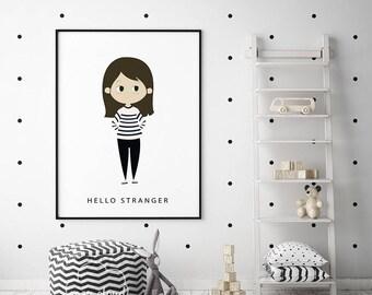 Hello Stranger Print, Nursery Illustration, Baby Wall Art, Nursery Decor, Baby Gift Kids Decor, Girl Room decor, Nursery print, Kids decor