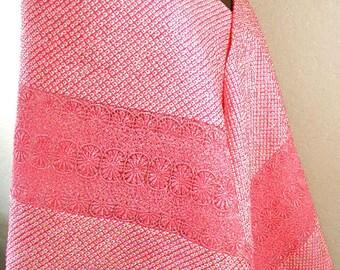 Japanese Kimono Silk Shawl – Vintage Pink Silk Shawl, Silk Belt – Shibori Hand-dyed Silk –Japanese Kimono Scarf – Japanese Textile Art