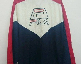 Rare Vintage 90s FILA JACKET Windbreaker Zip On Jacket Multi Colour | Size Large