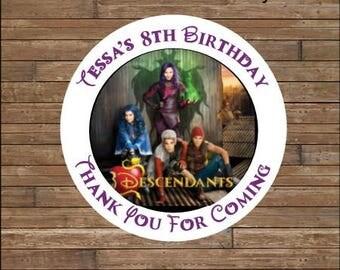 Personalized Descendants Stickers - Descendants Favor Tags - Descendants Birthday - Disney's Descendants
