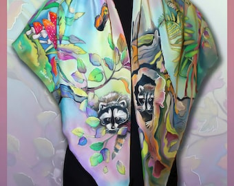 Silk Shawl Find raccoon, Handmade silk scarf, Scarves for women, Colourful Handpainted scarf, Silk Wrap, Rare Unique Gift