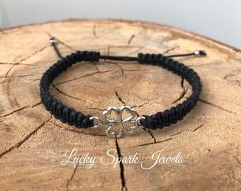 Clover leaf macrame bracelet, clover leaf, good luck macrame bracelet, macrame bracelet, braided, good luck, bracelet, brown, silver, black