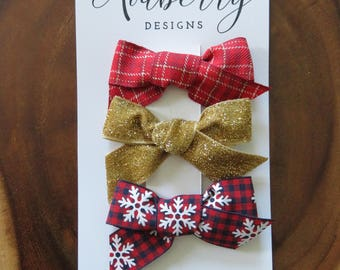 Mixed Christmas Bow set Glitter Velvet Plaid Snowflake Plaid Clip or Headband
