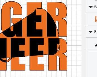 Tiger Cheer knockout megaphone SVG digital IMAGE