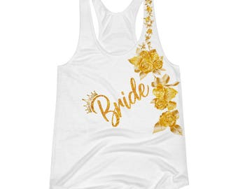 bride tank top, gold bride tank top, gold bridal tank top, gold bride tshirt, bridal shower gift,bride tank top ,wedding day tank,