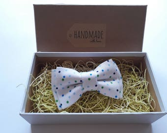 Handmade Colorful Dots White Bow Tie, Pocket Square / Boy's Bow Ties / Men's Bow Tie / Suited Pocket Square Boy's / Groomsmen Pack