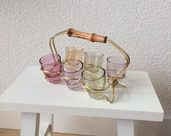 Drink/liqueur glasses in standard with bamboo handle