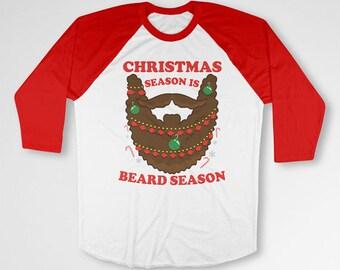Christmas Raglan Beard Gifts For Xmas Holiday T Shirt Merry Christmas Xmas Tee Beard TShirt Christmas Present X-Mas Raglan Sleeves TEP-519