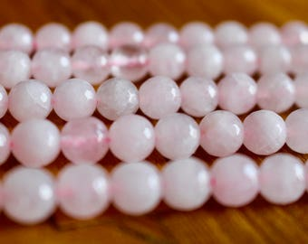 10mm faceted Rose Quartz beads, half strand, natural stone beads, round, 10041