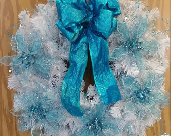ON SALE Blue and white winter wreath
